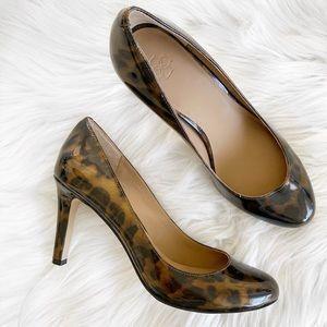 Ann Taylor Leopard Patent Leather Round Toe Pumps